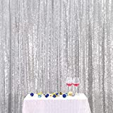Eternal Beauty Silver Sequin Wedding Backdrop Photography Background Party Curtain, 6Ft X 6Ft