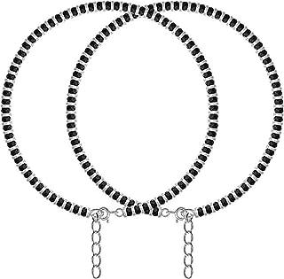 DARSHRAJ JEWELLERS Pure Silver (Chandi) Nazariya Black Crystal |payal| Anklet for Girls | Women
