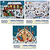 Bits and Pieces - Value Set of Three (3) 1000 Piece Jigsaw Puzzles for Adults - Christmas Gathering, Sleigh Carnival, Loading The Sleigh Jigsaws by Artist Joseph Holodook