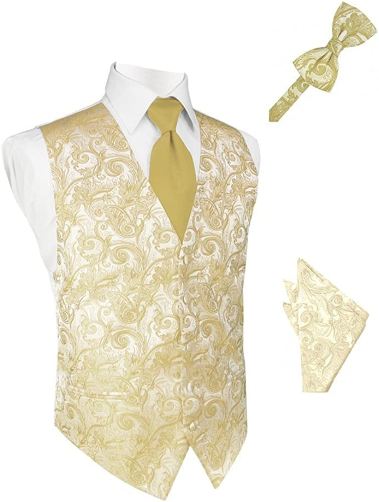 Harvest Maize Tapestry Satin Tuxedo Vest with Long Tie Bowtie and Pocket Square Set