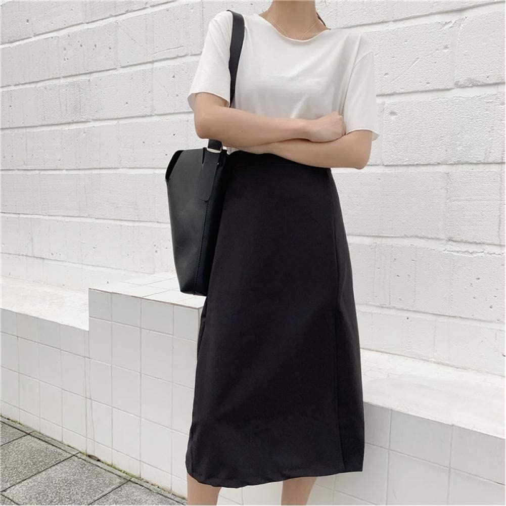 Waist Bag Hip Skirt Casual Simple Side Slit A-Line Skirt