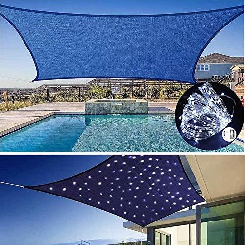 Velas De Sombra con Luces LED, Toldos Impermeables Exterior, Toldo De Bloque De 95% UV, Patios Al Aire Libre, Jardín, Patio Trasero,Blue-3X4m
