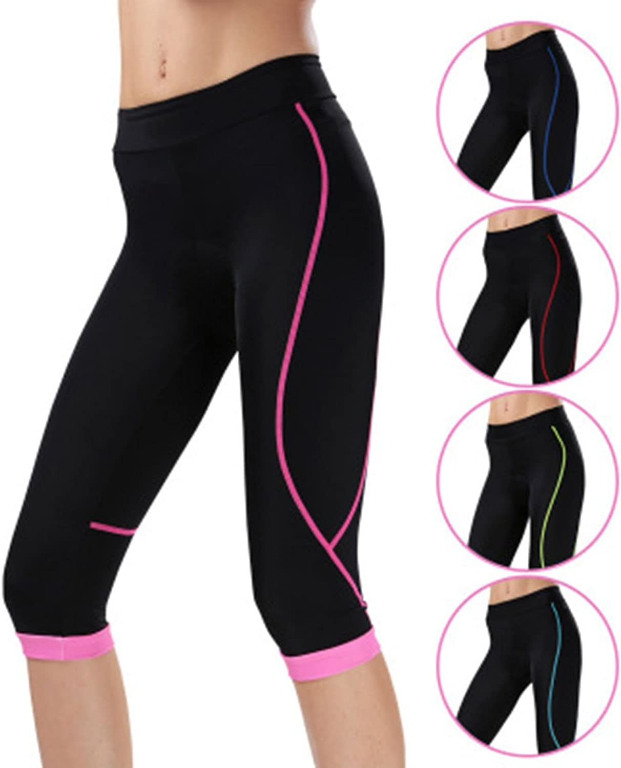 SEAOEEY Women's 4D Padded 3 4 Cycling Compression Tights & Long Bike Sport Pants