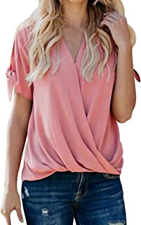 Womens Short Sleeve V Neck Front Wrap Twist Tops Office Blouses Shirt