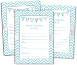 50 Blue Boy Baby Shower Invitations and Envelopes (Large Size 5x7)