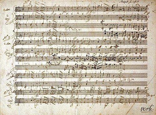Home-Feeling Impression artistique pour 6 personnes (2 hautbois et cornes) - Mozart - Wolfgang-Amadeus-Music-73 x 101 cm