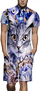 Xiaohudui Mens Short Sleeve Graphic Printed 3D Personalized Jumpsuit Rompers Rave Slim Fit Playsuit