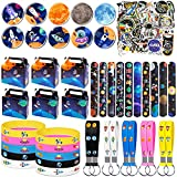 DMIGHT Outer Space Birthday Party Supplies with 100 Pcs Party Favors Include 10 Gift Box, 10 Bracelet, 10 Button Pins , 10 Key Chains, 10 Slap Bracelets and 50 Stickers for Kids, The Best Gift Boxes for Themed Party