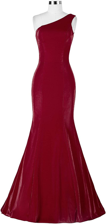 Vampal Burgundy One Shoulder Sleeveless Mermaid Long Evening Gown