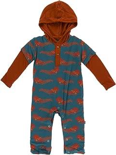 Kickee Pants Baby Boys' Long Sleeve Hoodie Romper Prd-kplhr252-ttw