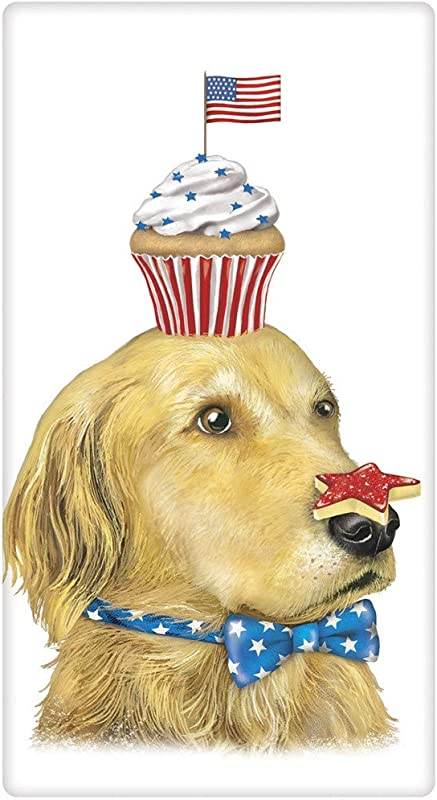Mary Lake Thompson Golden Retriever With Cupcake Cookie And Flag Flour Sack Towel