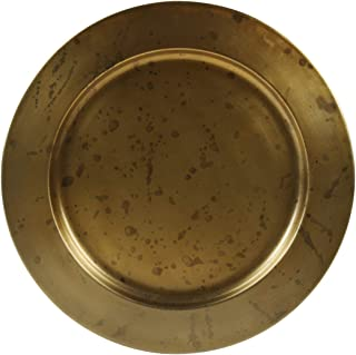 Koyal Wholesale Aged Gold Brass Bulk Metal Charger Plates, Set of 4, Vintage Service Plates for Wedding Reception, Bridal Shower, Antique Table Settings Decor