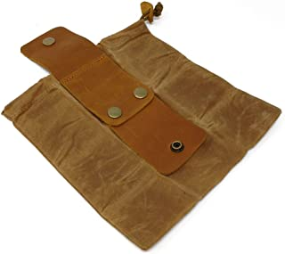 L & F Outfitters Small Canvas Draw-String Bag with Leather Straps to Attach to Outdoor Hiking, Hunting, Camping