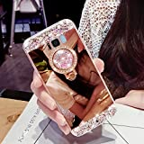 Girlyard Silikon Glitzer Hülle für Galaxy S8 Spiegel Rose Gold,Weiche TPU Bumper Luxus Bling Diamant Schutzhülle Crystal Clear Backcover mit 360 Grad Strass Ring Ständer pour Samsung Galaxy S8