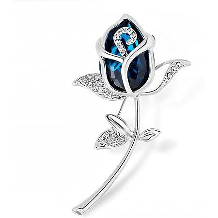Merdia Broche de cristal azul creado para mujer con diseño de rosas