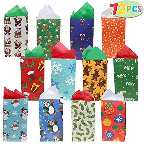 72 Pack of Christmas Holiday Goody Bags; 12 Assorted Christmas Designs Goodie Bags for Classrooms, Party Favors, Small Gift Bags, Kraft Bags and Christmas Craft Bags