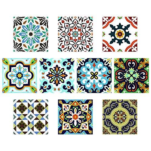 24 stück Fliesenaufkleber für Küche und Bad TP60-6 | Verschiedene Mosaik wandfliesen Aufkleber für 15x15cm Fliesen