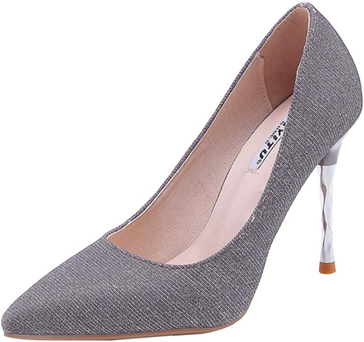 Sam Carle Womens Pink Pumps,Autumn Pointed Toe 9CM Thin Heel Slip-on Elegant Party Wedding shoes