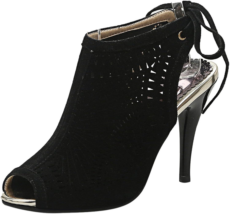 CarziCuzin Women Peep Toe Thin High Heel Summer Ankle Booties Party Sandals
