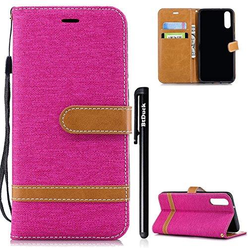 BtDuck Huawei P20 Hülle, Denim PU Leder Slim Tasche Stand Flip Case Brieftasche Retro Ledertasche Weich Silikon Back Cover Hülle mit Magnetverschluss Kartenfach Handyhülle für Huawei P20 Heiß Rosa