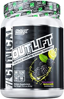 Nutrex Research Outlift | Clinically Dosed Pre-Workout Powerhouse, Citrulline, BCAA, Creatine, Beta-Alanine, Taurine, Banned Substance Free | Blackberry Lemonade | 506 Gram - 17.8 oz