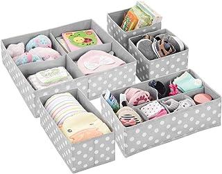 mDesign boîte de rangement tissu (lot de 5) pour chambre d'enfant – panier de rangement tissu pour accessoires de bébé et ...