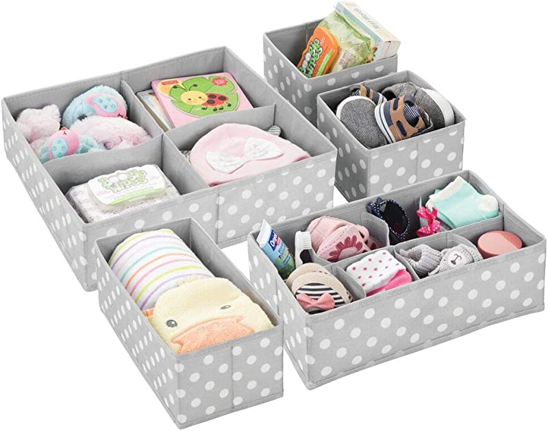 MDesign Soft Fabric Dresser Drawer And Closet Storage Organizer Set For Child Kids Room Nursery Playroom 5 Pieces 15 Compartments Fun Polka Dot Print Gray White