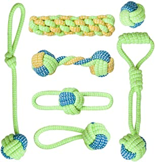 7Pcs Dog Rope Toys for Aggressive Chewers - Washable Indestructible Cotton Dog Chew Toys for Puppy Small to Medium and Lar...