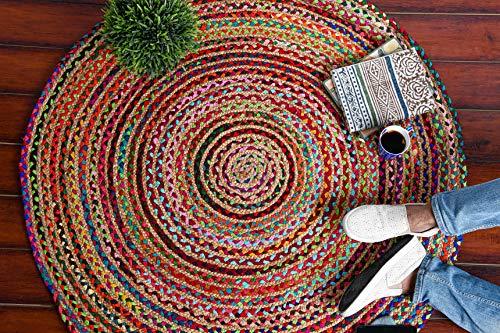 IMPEXART PVT LTD Tapis Chindi Tapis Rond en Jute Main Naturelle 122X122 Cm Tapis en Jute tissé pour Salon Vintage réversible 100% Bio Tapis décoratif pour la Maison