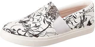 حذاء رياضي جلد صناعي سهل الارتداء بنقشة ورود للنساء من كلوب الدو