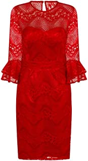 Womens/Ladies Red Lace Bodycon Dress