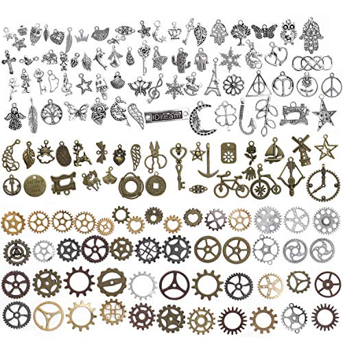 HOWAF 215 Gram Assorted Pendants Charms for Jewellery Making Kits, Silver Bronze Steampunk Cogs Antique Pendant Charms for DIY Bracelet Necklace, Steampunk Skull Heart Flower Owl Anchor Symbol, 168pcs