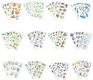 TANCUDER 72 Feuilles Autocollants Stickers Bullet Journal Créatifs Scrapbooking Autocollants 12 Sujets Scrapbooking Sticke...