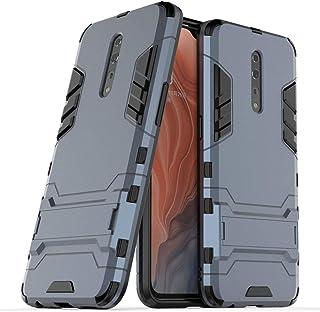 غطاء حماية لهاتف اوبو رينوZ (6.4 انش) 2 في 1 مضاد للصدمات مزود بمسند يتميز بطبقة مدرعة هجينة مزدوجة ( لون ازرق واسود)
