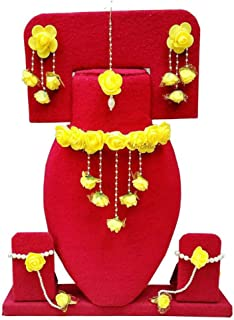 Jewellery Bollywood Ethnic Bridal Wedding Traditional Floral Gota Patti Indian Necklace Set, Earrings, Bracelet and Maang Tiika for Women Haldi and Mehendi Occassion