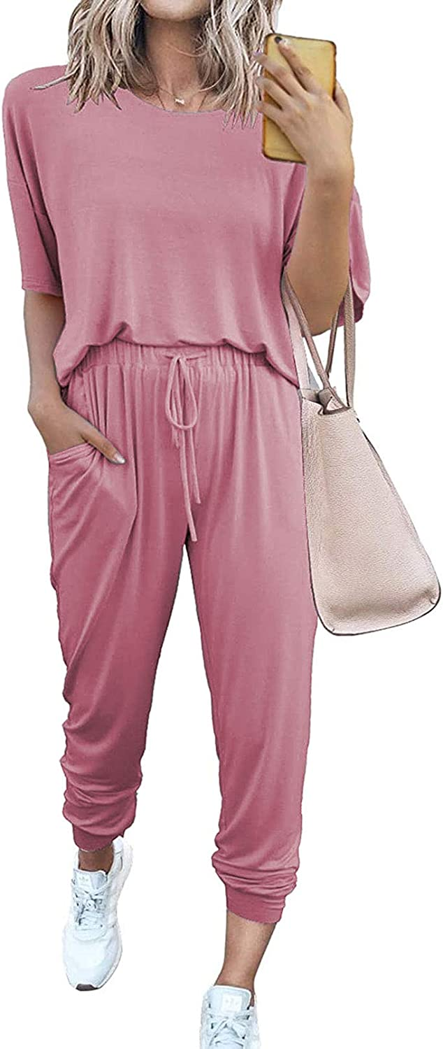 Women's Solid 2Piece Short Sleeve Top and Long Drawstring Sweatpants Athletic Sweatsuit Outfits with Pockets