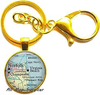 Charming Keychain,Norfolk,Virginia Fashion map Key Ring,Virginia Beach map Keychain,Norfolk map Key Ring,map Jewelry,A0220