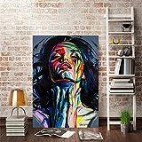 wZUN Retrato Moderno Carteles e Impresiones murales Arte Lienzo Pintura abstractas Coloridas imágenes de Mujeres para Sala de Estar decoración del hogar 50x70 cm