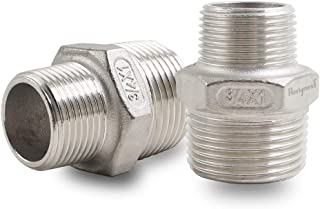 Horiznext Male Threaded Stainless Steel 304 hex Pipe Fitting, NPT 1 inch to 3/4 in. Reducer. (Pack of 2)