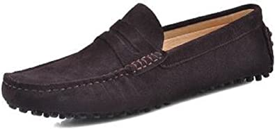 HYF Mens Driving Penny Loafers Suede Genuine Leather Casual Moccasins Slip-On Boat Shoes Business Shoes for Men Color : Navy, Size : 8 MUS