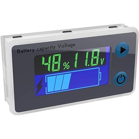 Battery Monitor, DROK 10-100V Digital Battery Capacity Tester, Percentage Level Voltage Temperature Switch Meter Gauge 12V 24V 36V 48V LCD Display Marine RV Battery Power Indicator Panel