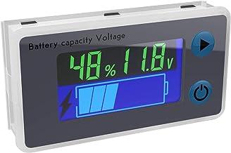 Battery Monitor, DROK 10-100V Digital Battery Capacity Tester, Percentage Level Voltage Temperature Switch Meter Gauge 12V...