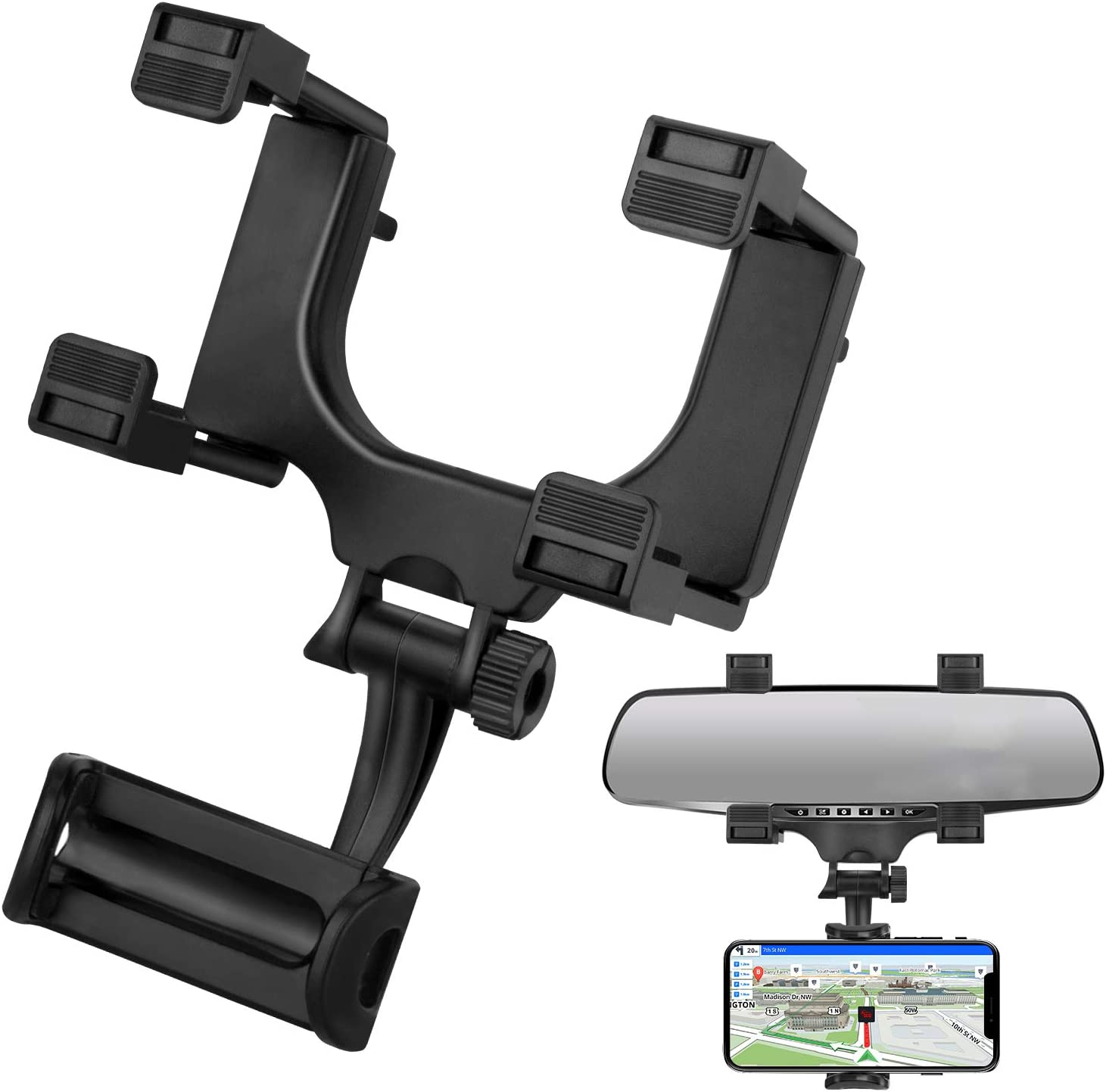 HOULIY Phone Car Holder Rear View Mirror Phone Mount Car Phone Holder Mount, Universal Cell Phone Automobile Cradles Fit with All Cell Phones Eye Level Safe Viewing