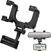 HOULIY Phone Car Holder Rear View Mirror Phone Mount Magnetic Car Phone Holder Mount, Universal Cell Phone Automobile Cradles Fit with All Cell Phones Eye Level Safe Viewing