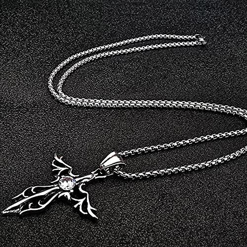 Sxcespp Personalizado Simple Collar de Acero de Titanio Colgante de Acero Inoxidable para Hombre Alas de ángel Collar Cruzado Collar Joyas Regalos para Novio en el día de San Valentín Chino
