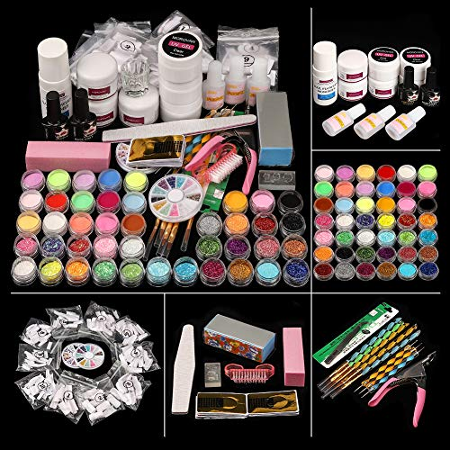 Morovan - Kit de uñas acrílicas con purpurina brillante, con monómero y acrílico básico para uñas de uñas, decoración de uñas, kit de decoración de uñas acrílica, caja de regalo
