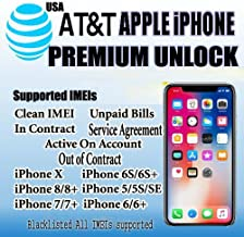AT&T USA Premium Factory Unlocking Service All iPhone 8,8+,X,7+, 7, 6S, 6S+, 6+, 6, 5, 5S, 5C,SE, 4, 4S Unpaid Bills/Under Contract/Active/Blacklisted Supported.All IMEI Supported.Your device will be unlocked permanently and will operate on any GSM network worldwide. Fast Processing Time 1-7 Business Days.