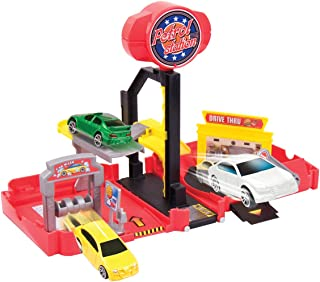 Motormax USA Mini Transforming Playset Petrol Station Die Cast Model (Multi Color MM78148)