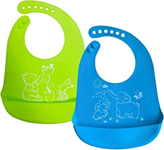 DIRECT FROM FACTORY Waterproof Silicone Baby Bibs (Set of 2) with Food Catcher Pocket – BPA Free, Food Grade Feeding & Wea...