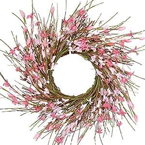 Silk Flower Arrangements Bibelot 14 inch Artificial Forsythia Flower Wreath, All Year Around Wreath for Front Door, Wedding Window Home Wall Indoor Front Door Decor (Pink, 14in)